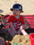 (Also, he learned that sand tastes yucky.)